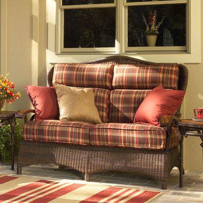 Woodard Chatham Loveseat with Cushions Fabric: Sunbrella Haviland Blue Mist