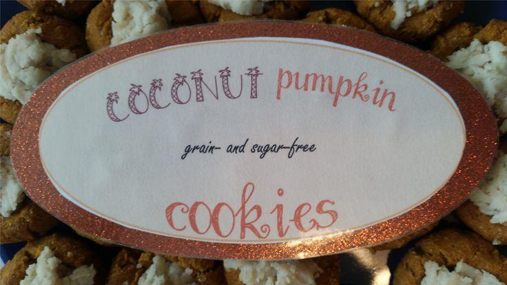 Fonts (all public domain):  - Coconut: LD palm trees  - pumpkin, cookies: Pea Ellie Bellie  - grain- and sugar-free: Freestyle Script; #placards #placard design #cookies