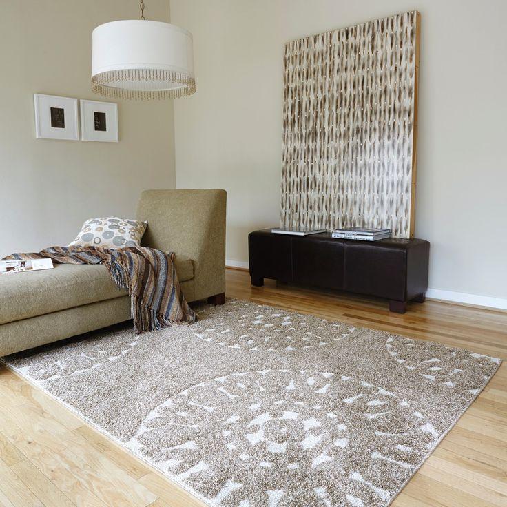 Jullian Beige Shag Rug (5'3 x 7'7) | Overstock.com Shopping - Great Deals on Alexander Home 5x8 - 6x9 Rugs