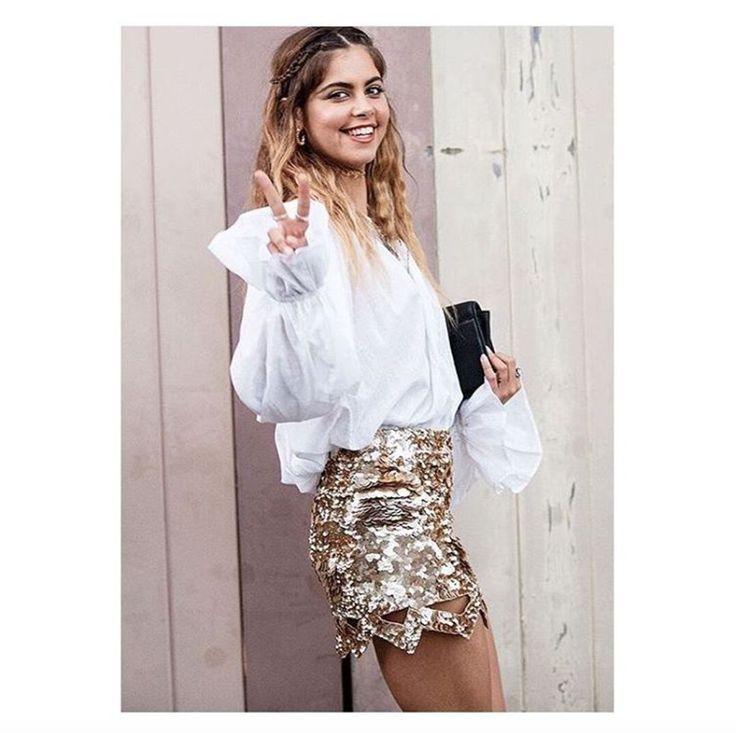 Mimi Elashiry wears the Le Corsaire Blouse and Catara Mini #AJETHELABEL #AJE #MIMIELASHIRY #MBFWA #STREETSTYLE #STYLE #FASHION #SEQUIN #GOLD #MINI