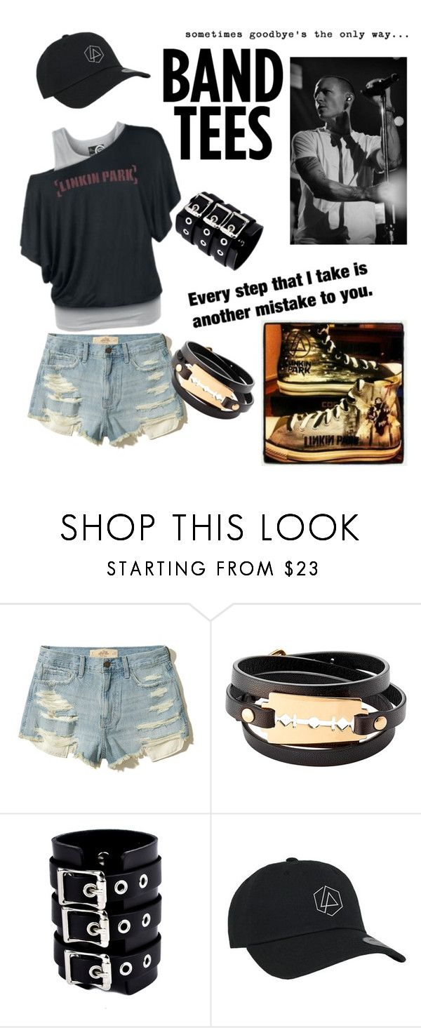 """Band Tee- Rest In Peace Chester"" by sariedavenport ❤ liked on Polyvore featuring Hollister Co. and McQ by Alexander McQueen"