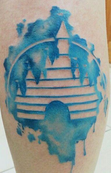 Watercolor disney castle tattoo