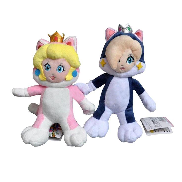 "2Pcs 8""-9"" Peach Rosalina Plush Doll Super Mario Bros Anime Dolls Gifts Stuffed Soft Toys"