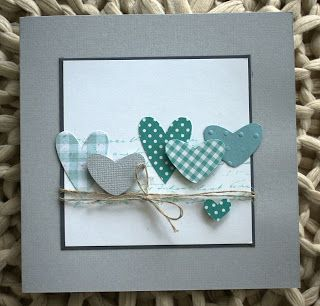 CAS. Nontraditional colors of die cut and punched hearts on square card. Pusteblume