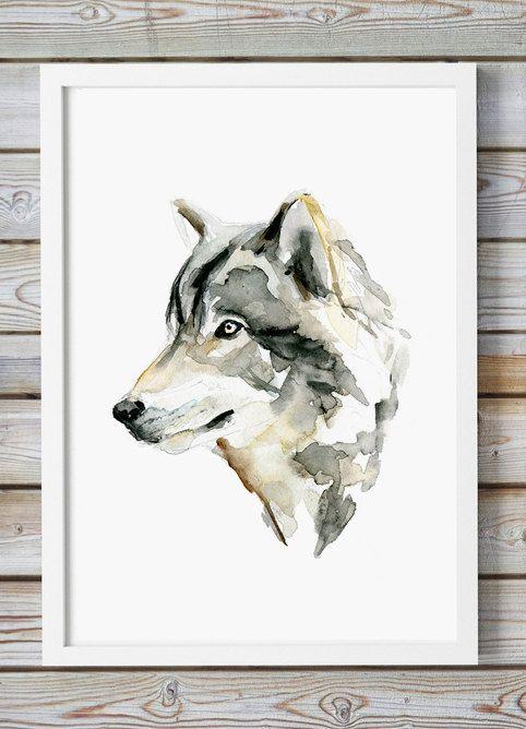 Wolf portret  Aquarel schilderij  Giclee Print  door Zendrawing