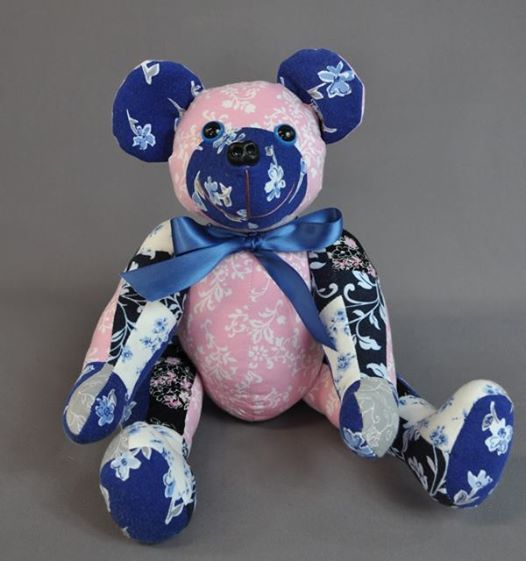 "Traci sent us some of her late mother's nightgowns to have memory bears made for her and her family members. She wanted a 16"" patchwork bear from all the fabrics for herself and some two-toned bears for family members."