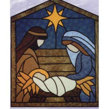 The Virginia Quilter - Quilting Patterns - Designs by Edna Quilt Patterns - Stained Glass Manger Scene Quilt Pattern