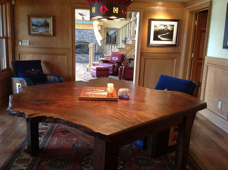 Walnut Table, With Some Molesworth Club Chairs. Live Edge FurnitureWestern  FurnitureWalnut TableRanch StyleClub ...