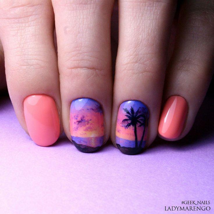 #geeknails  #шеллак #гельлак #нейларт #ногти #маникюр #дизайнногтей #nailart #naildesign #sunset