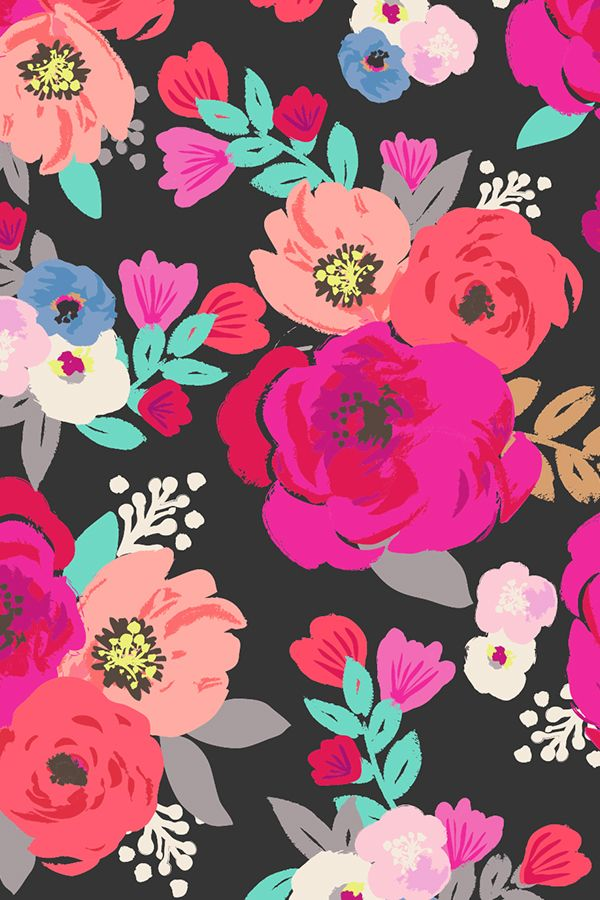 Sweet Pea Floral Black by crystal_walen.  Bold bright flowers on a dark background with turquoise petals.  Available on fabric, wallpaper, and gift wrap. #crafts_gifts_wrapping