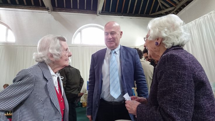 Bletchley Park veterans Mary Every & Charlotte Webb (Betty) preparing for their interview with Michael Smith.