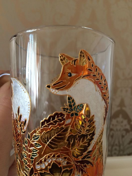 Кружки и чашки ручной работы. Ярмарка Мастеров - ручная работа. Купить Стеклянный бокал для чая или кофе, расписан витражными красками. Handmade.