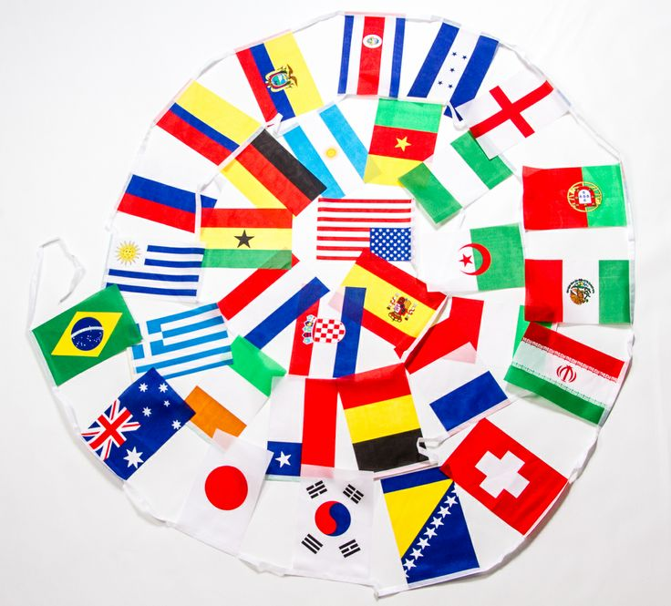 2014 World Cup Soccer Pennant Flag String of all 32 nations competing in Brazil
