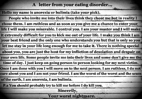 powerful reality about an eating disorder from the eating disorders perspective.