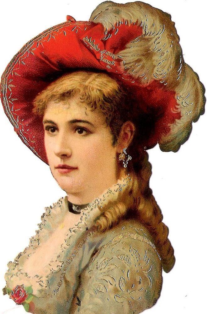Oblaten Glanzbild scrap die cut chromo Lady Dame  13cm femme portrait gold
