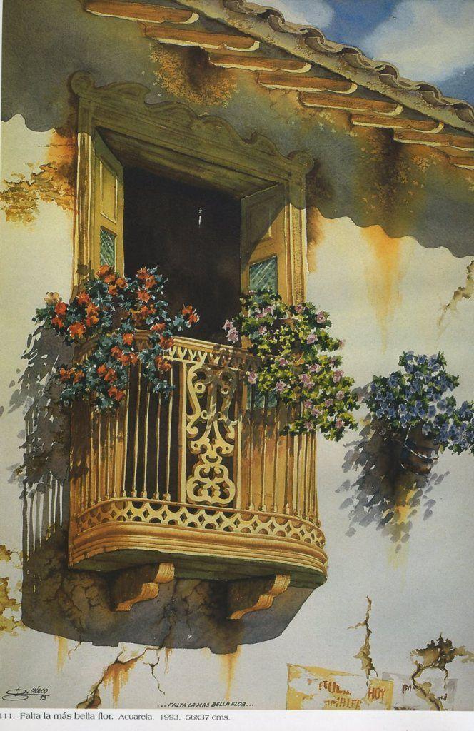 Falta la más bella flor. Acuarela. 56 x 37cms. 1993 Germán Vieco Betancur