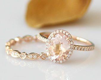 Anillo nupcial 7X9mm Set Oval morganita anillo puro Anillo Solitarios 14k oro anillo de compromiso conjunto venda de boda de diamante de anillo de aniversario