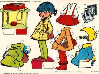 """María Pascual:  La periodista (The journalist) 1962 // ***** María Pascual I Alberich, nace en Barcelona el 1 de julio de 1933. Comienza a dibujar desde muy joven, publicando sus primeras ilustraciones a los 14 años, para el cuento """"El hada de la fuente"""" de Editorial Toray.  ~ ~ ~ (María Pascual I Alberich, born in Barcelona on July 1, 1933, started drawing at an early age, publishing her first illustrations at age 14, for the children's book """"The Fountain Fairy"""")"""