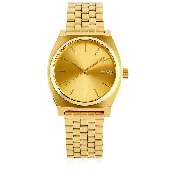 Nixon Women Time Teller Gold Finish & Dial Watch ($130) ❤ liked on Polyvore featuring jewelry, watches, gold, dial watches, water resistant watches, nixon watches, nixon jewelry and quartz movement watches