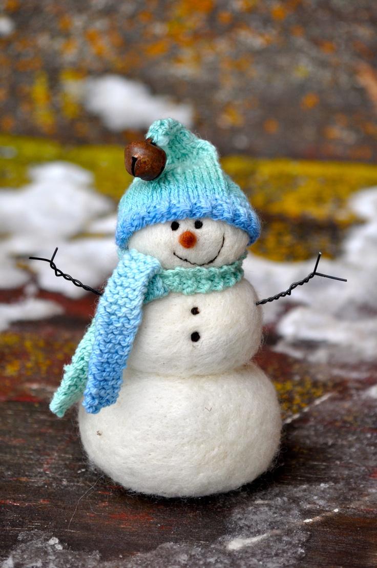 Wool Needle Felted Snowmen
