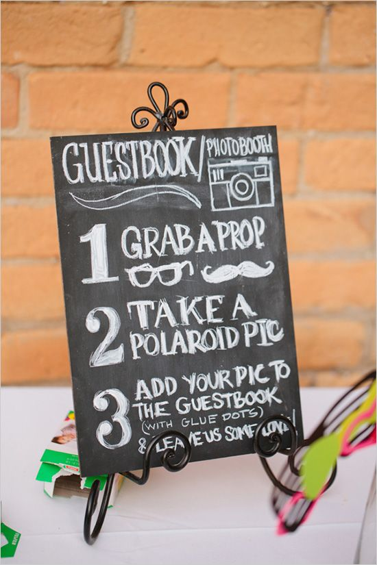 wedding photo booth sign @Megan Pennington I love this idea! You could hang a cool picture frame from that big tree by the pavilion with all kinds of props and stuff around it... Really fun guestbook that you'll actually want to look at! :)