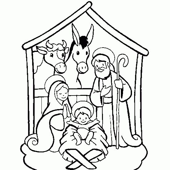 Christmas Coloring Pages for Preschool | Christmas coloring - Coloring, of, a, Christmas, crib free coloring