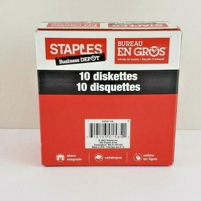 "Staples Diskettes 3.5/"" 1.44MB IBM Formatted 10 Pack Floppy Disks *New//Sealed*"