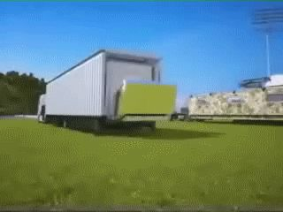 STRANGE TRUCK WITH A HUGE FOLD OUT BUILDING - WATCH IT CONSTRUCT ITSELF! ACTION GIF!