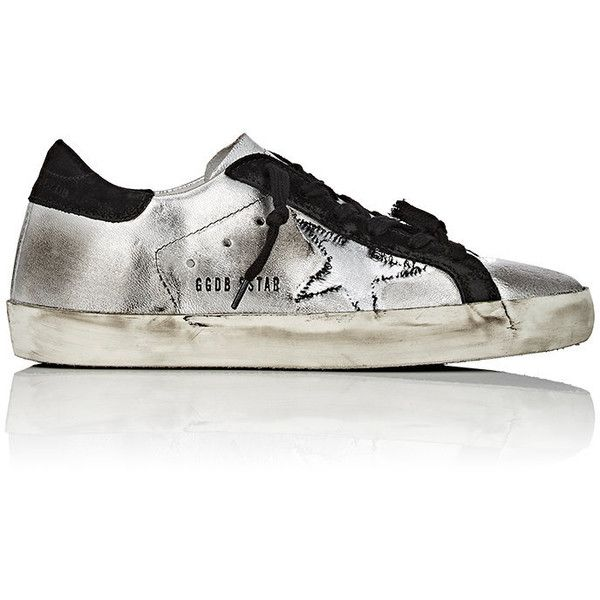 Golden Goose Women's Superstar Sneakers ($249) ❤ liked on Polyvore featuring shoes, sneakers, silver, low top wedge sneakers, wedge trainers, wedge shoes, rip trainer and golden goose shoes
