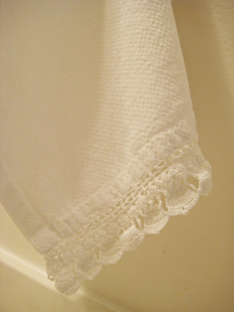 lace edging on the towel