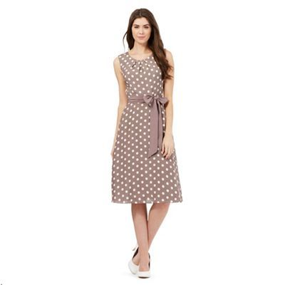 The Collection Brown spot print sleeveless dress | Debenhams