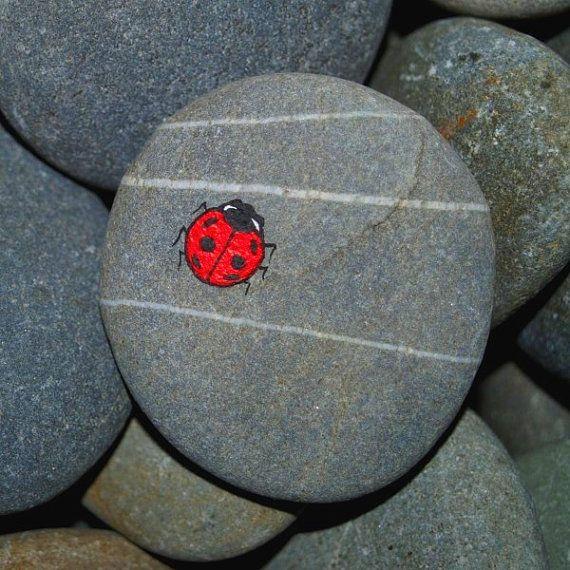 Tiny Hand Painted Ladybird Ladybug on a Stone by tickledinkcards, €6.50
