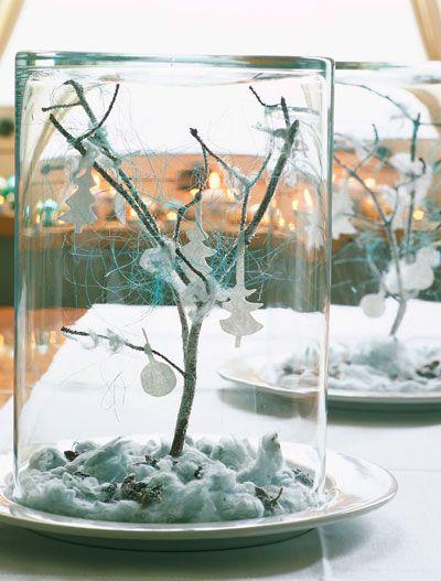 diy: een glazen (cilinder) vaas die als je m omdraait een perfecte kerststolp voor een lief wintertafereel is.