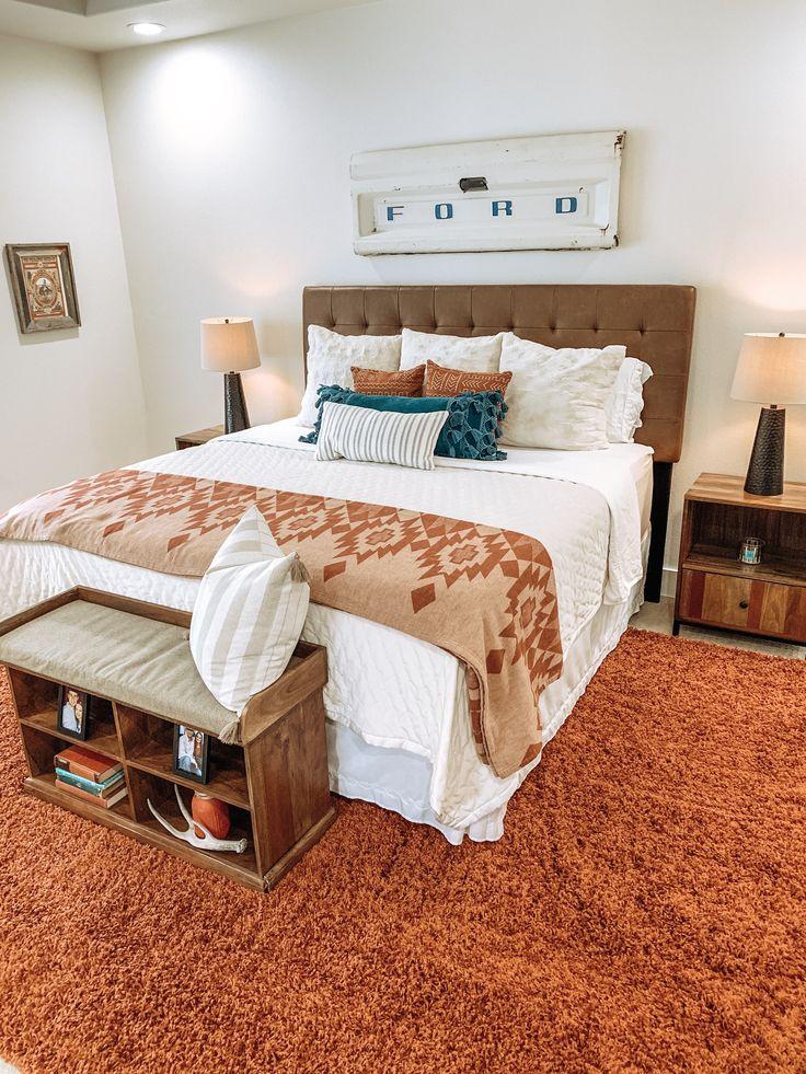Southwestern master bedroom.
