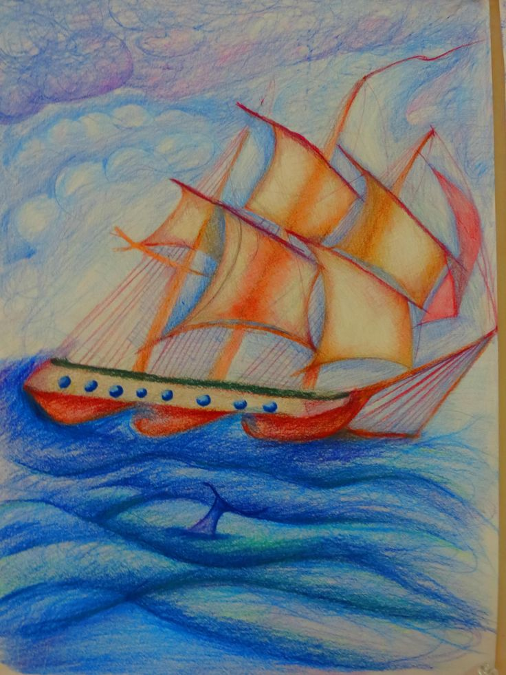 Explorerers and discovering the world. 7th grade pupils drawing.
