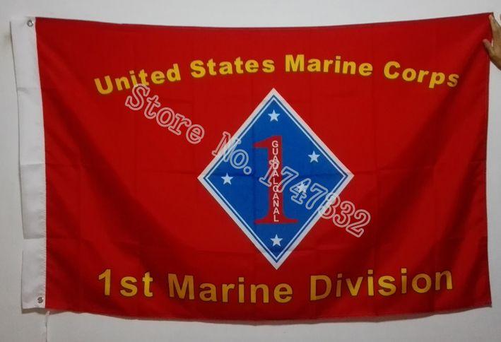 Армии сша 1-й дивизии морской флаг горячая распродажа товаров 3X5FT 150 X 90 см баннер латунь металлические отверстия