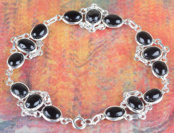 Onyx Jewellery – Amazing Black Onyx Gems Silver Bracelet BJB-118-BO – a unique…