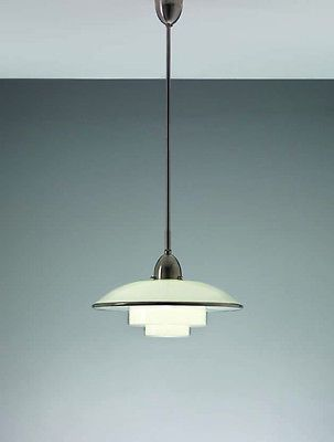 C F Otto Mller For Zimmer GmbH Titan Ceiling Lamp Mod Satin Finished Nickel And Glass Germany 1931 Sold By Sistrah Licht Megaphos