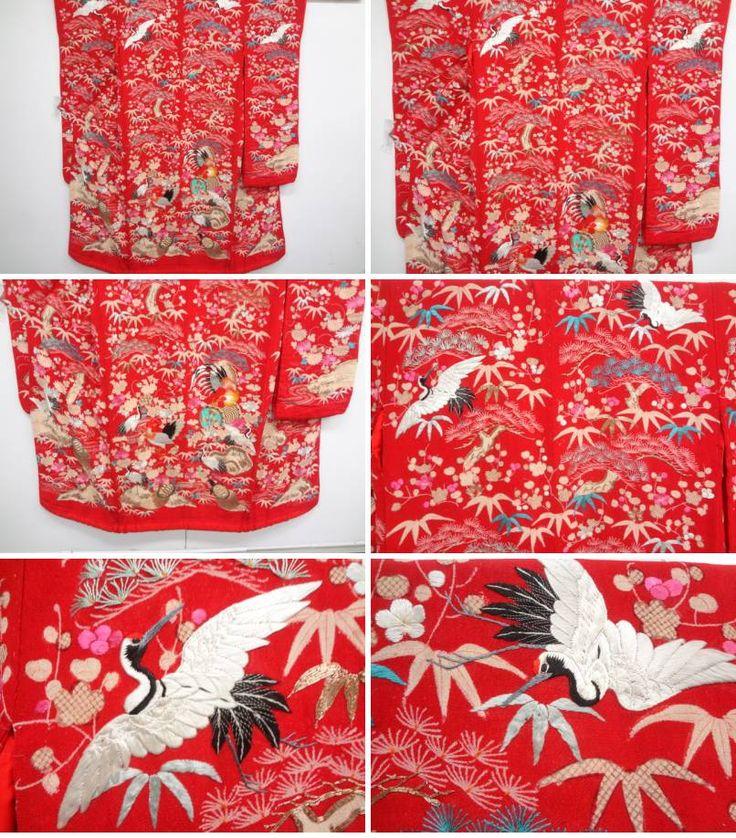 アンティーク 時代衣装 縮緬松竹梅に鶴・亀・鶏模様刺繍着物