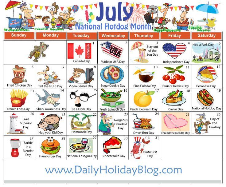 Free July Holidays calendar to upload!