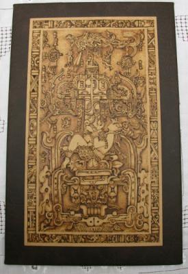 códice maya cuadro simil-madera,cuero ecológico pirograbado