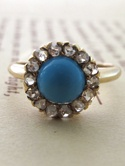 Turquoise Cabochon and Rose-cut Diamond Ring