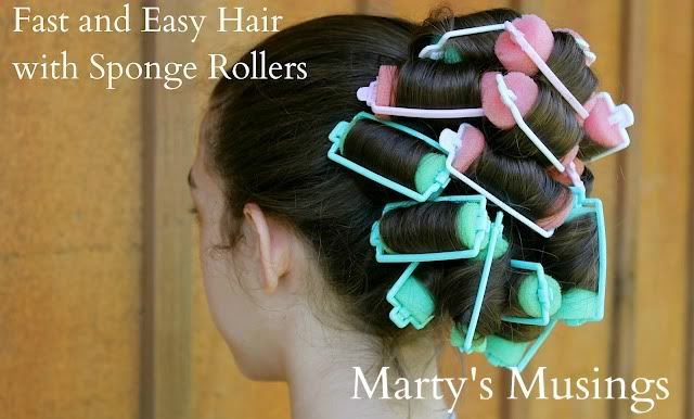 Fast and Easy Hair Using Sponge Rollers from Marty's Musings