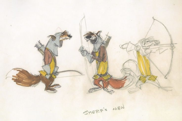 Deja View: Lounsbery Wolves Here a few sheets featuring the Sheriff of Nottingham's henchmen as wolves done by animator John Lounsbery. Some of the sketches are reminiscent of the wolf from Sword in the Stone, a character Louns animated about a decade earlier. He works pretty rough here as he focuses on poses and expressions that reveal the personality of these sub-villains. In the end Milt's approach of the wolves made it to the screen. I will post his designs next.