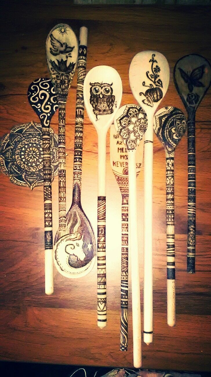 Spoons wood burned