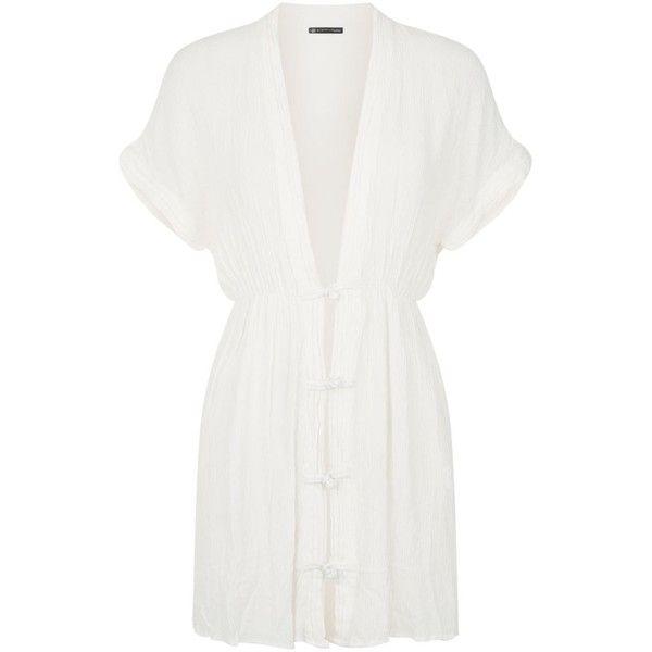 ViX Fuji Toggle Kaftan (13,940 INR) ❤ liked on Polyvore featuring tops, tunics, white v neck top, white v neck tunic, summer tunics, white kaftan top and v neck tunic