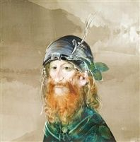 Szakállas férfi portréja by Endre Szasz