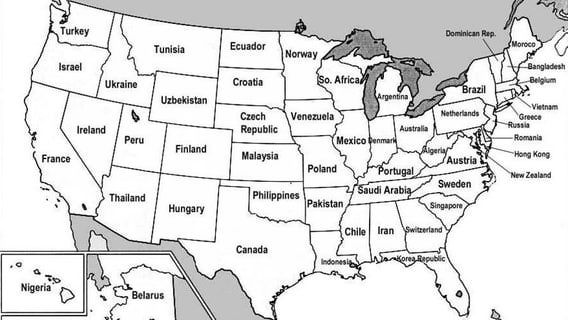 United States Control Maps Masters Blank Colored Labeled Maps - Map of the us with labels