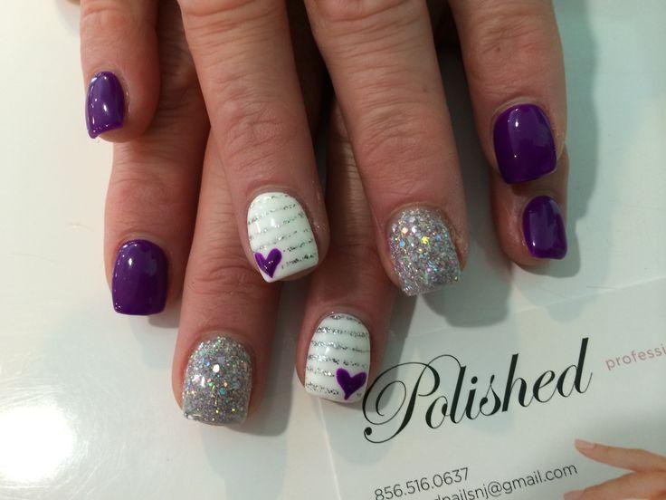 Gel polish on acrylic nails with a cute design. Love the heart!