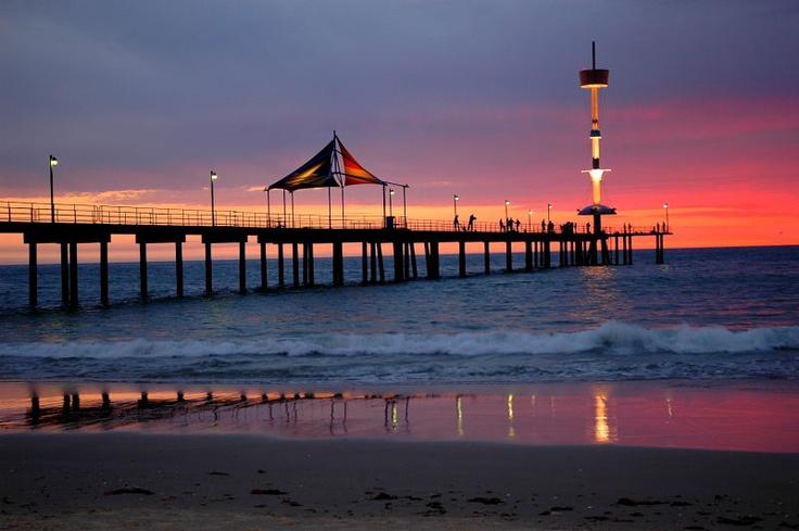 Brighton jetty sunset on one of Adelaide's beautiful beaches